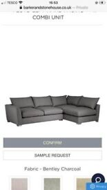 Barker and Stonehouse large grey wool sofa and footstool.