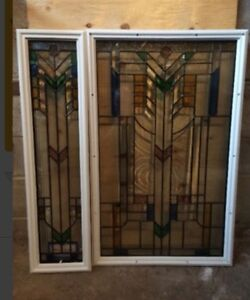 Front door glass with side panel