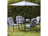 4 garden chairs and glass table umbrella and waterproof cover