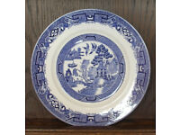 Willow Patterned Plate, 222mm Diam, Made in England.