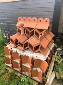 Bangor blue slates chimney pots ridges floor roof tiles reclaimed