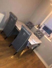 Asmara 160cm marble dining table set