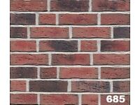 Brick tile: Antik; red/black flamed, dapped color ref 685WDF, Hand molding,