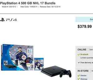BNIB SEALED PS4 500GB NHL17 BUNDLE