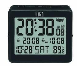 HITO Atomic Travel Alarm Clock with Auto Back Light 6 Timezones, Date Day