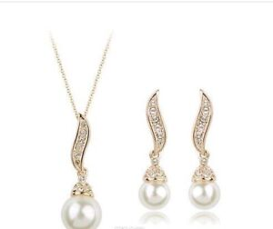 High Quality Gold/Silver Plated Freshwater Pearl Angel Wings Set