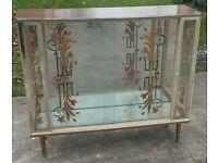 Vintage glass china cabinet glass sliding doors shelving inside dansette legs