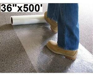 """NEW CARPET PROTECTION FILM 36""""x500' Temporary Adhesive Plastic, Clear 108011628"""