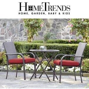 NEW HOMETRENDS 3 PC PATIO SET LG-H8209-B3PC RD 201779746 TUSCANY SCARLET RED BISTRO SET 2 CHAIRS 1 TABLE