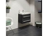 Arden Essen 600 mm wall hung vanity unit only in black