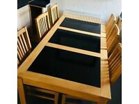 oak dining table with 6 chair