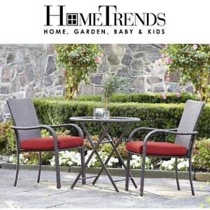 NEW* HOMETRENDS 3 PC PATIO SET LG-H8209-B3PC RD 201784915 SCARLET RED BISTRO SET 2 CHAIRS 1 TABLE