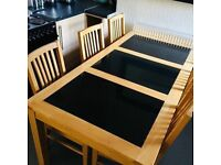 oak dining table with 6 solid oak leather chair