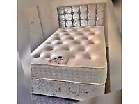 🎆💖🎆Made to UK Standard🎆💖🎆CRUSH VELVET DOUBLE DIVAN BED + SEMI ORTHOPEDIC MATTRESS