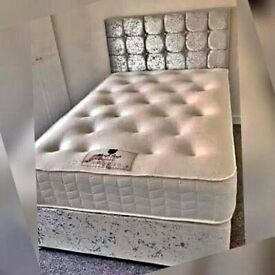 🎆💖🎆Delivery is Fast & Free🎆💖🎆CRUSH VELVET DOUBLE DIVAN BED + SEMI ORTHOPEDIC MATTRESS