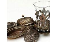 Othman Turkish Tea Set Bronze
