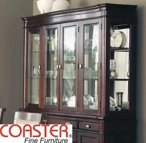 NEW COASTER ALYSSA BUFFET HUTCH 105444H 146788948 GLASS DOOR CABINET DARK COGNAC