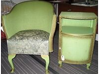 Vintage Bedside Cabinet and Chair. Lloyd Loom style