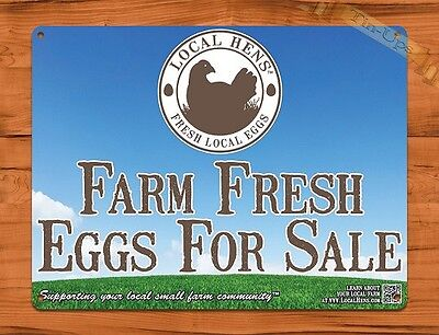 TIN SIGN Farm Fresh Eggs For Sale Blue Sky Rooster Chicken Decor Farm Barn - Rooster For Sale