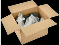 Boxes Bubble Wrap Tape Blankets and refuse bags and grey mailers