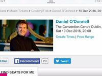 2 x Daniel O'Donnell tickets - Sat 10 Dec - Dublin Convention Centre. Excellent seats