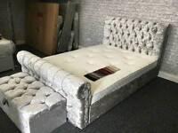 Crushed Velvet Sleigh Beds