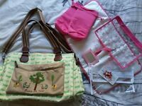 Pink Lining Twice as Nice, twin baby changing bag. Green Dragonflies.