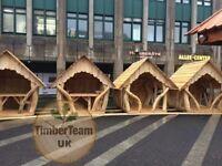 Gazebo Wooden Bespoke Handmade Solid Tree Trunk. Hot Tub/BBQ Shelter Pavilion Pergola from £900