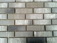 Brick tiles NF764 grey/white/black flamed