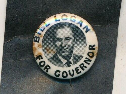 """Scarce 1954 Bill Logan for governor 1"""" cello Oklahoma OK campaign button-spots"""
