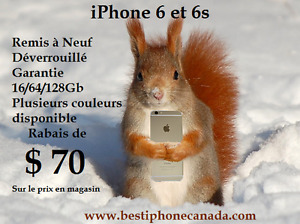 iPhone 6 et 6s Remis à Neuf - 3 Couleurs -Déverrouillé