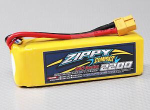 ZIPPY COMPACT 2200mAh 4S 14.8V 25C LIPO BATTERY XT60 CAR TRUCK HELI QUAD FPV EDF