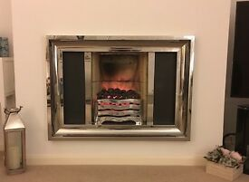 Polished Stainless Steel Fire Surround and Electric Fire