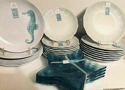 Sigrid Olsen Seashell Seahorse Starfish Melamine Dinner/Salad Plates U Pick Set - Seashell Plates