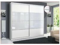MALAGA SLIDING WARDROBE,LED LIGHTS,FREE ASSEMBLY,LOWER PRICE,TWO HANGING SPACE, SHELVES,WHITE COLOUR