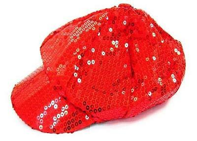 RED SEQUIN BASEBALL CAP flashy novelty sparkle hat hats game sports new - Red Sequin Hat