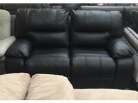 Black leather recliner 2 seater sofa and Armchair