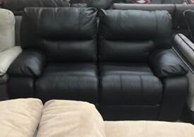 Black leather 2 seater sofa and armchair recliner