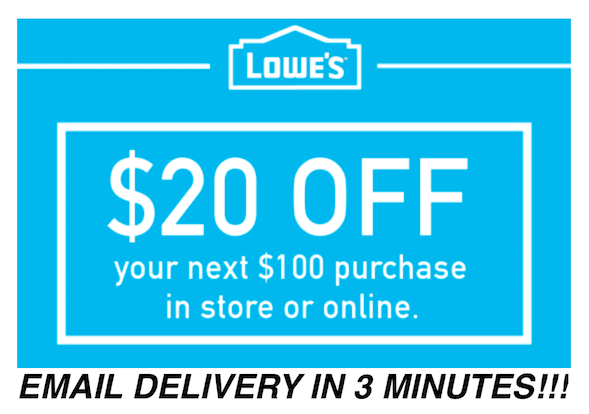 THREE 3x Lowes $20 OFF $100 Coupons Discount - In store/online - Fast Shipment