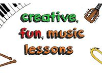 Creative, fun lessons on drums, piano, guitar or trombone. Composing lessons on any instrument.