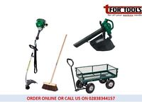 Draper 58552 Steel Mesh Garden Cart + Petrol Strimmer & Leaf Blower + Yard Brush
