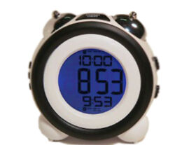 Exclusive Atomic LCD with Mechanical Bells Snooze Backlight White Alarm Clock