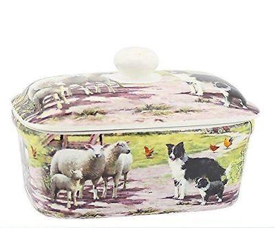 Collie and Sheep Fine China Butter Dish - Dog Animals Village Farm Retro Design