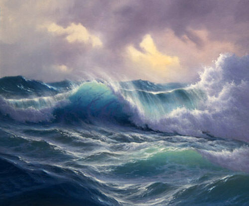 Dream-art Oil painting seascape ocean waves in sunset hand painted in oil canvas