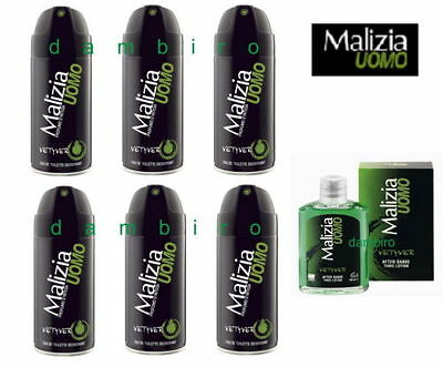 MALIZIA UOMO VETYVER Deo 6x150ml + After Shave Tonic Vetyver