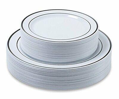 Premium Party Disposable Plastic Plates 60-Set Silver - Bulk Disposable Plates