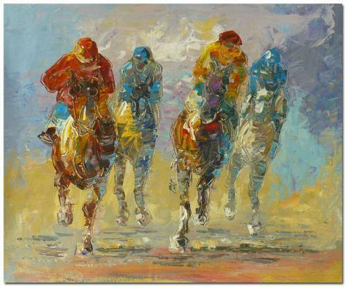 Oil Painting Of Racing Horses Running By S