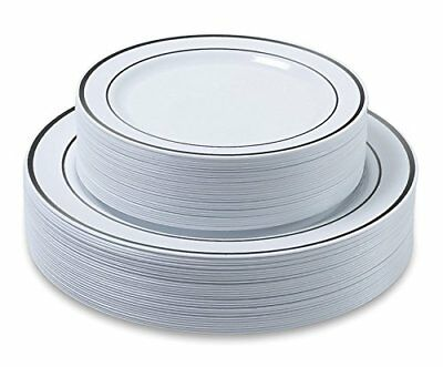 Premium Dinner/ Wedding Disposable Plastic Plates 60-180 pieces-Silver/Gold