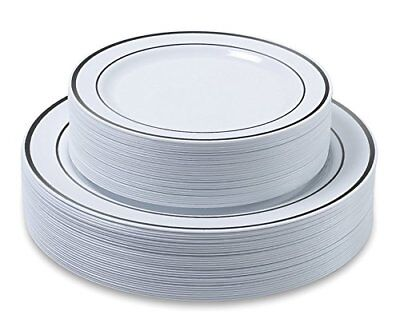 Premium Dinner/ Wedding Disposable Plastic Plates 60-180 pieces-Silver/Gold  - White Plastic Plates