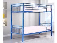 HAMPTON 3FT BUNK BED WHITE/BLUE